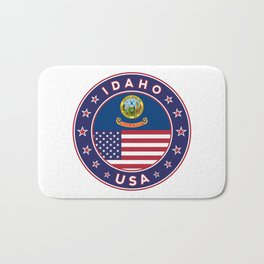 Idaho, Idaho t-shirt, Idaho sticker, circle, Idaho flag, white bg Bath Mat