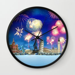 events fireworks Wall Clock
