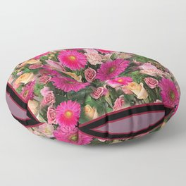 PINK FLOWERS GARDEN PUCE ART PATTERNS Floor Pillow