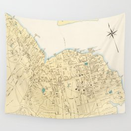Vintage Map of Bar Harbor Maine (1897) Wall Tapestry