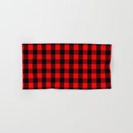 Classic Red and Black Buffalo Check Plaid Tartan Hand & Bath Towel