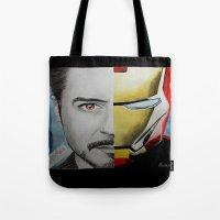 tony stark Tote Bags featuring Tony Stark by Goolpia