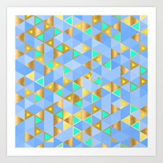 Contemporary Faux Gold and Blue Triangles Pattern Art Print