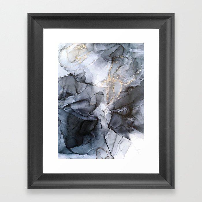 Calm but Dramatic Light Monochromatic Black & Grey Abstract Gerahmter Kunstdruck