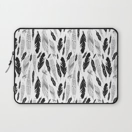 raphic pattern feathers on a white background Laptop Sleeve