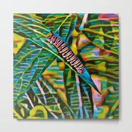 Caterpillar Fiesta | Oil Painting Metal Print
