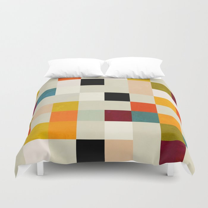 modern mid century chequers Duvet Cover