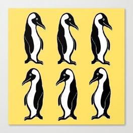 Penguins Pattern Yellow Canvas Print