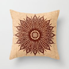 ozorahmi wood mandala Throw Pillow