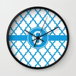 Blue Monogram: Letter G Wall Clock