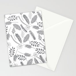 Modern gray hand painted leaves berries pattern Stationery Cards