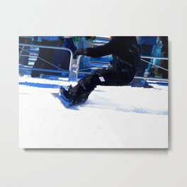 Snowboarder Skidding Winter Sports Gift Metal Print