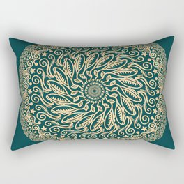 Mandala Project 255 | Gold on Forest Green Rectangular Pillow
