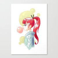 bubblegum Canvas Prints featuring Bubblegum by Freeminds
