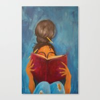 bookworm Canvas Prints featuring bookworm by Sugah Acrylics & Designs
