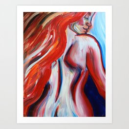 Ginger Woman From Behind Art Print