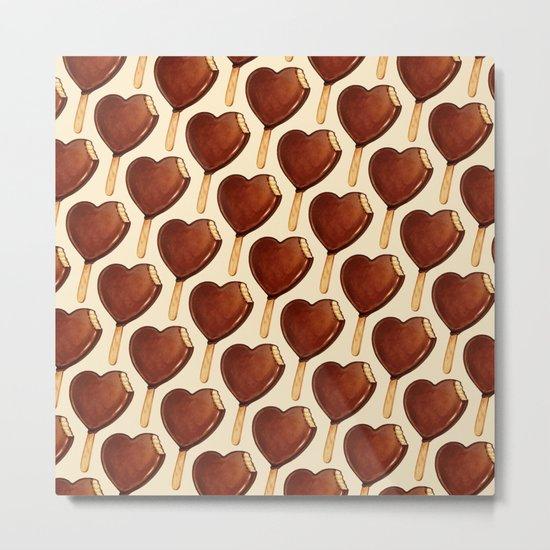 Ice Cream Pattern - Heart Metal Print