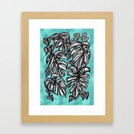 Monstera Turquoise Framed Art Print