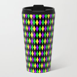 Mardi Gras Diamonds on Black Travel Mug