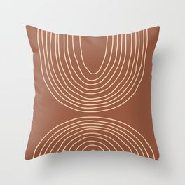 Hand drawn Geometric Lines in Terracotta and Beige 2 Throw Pillow