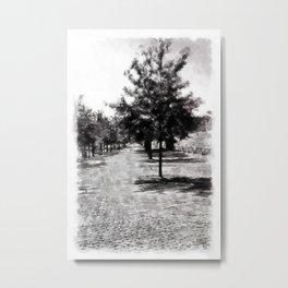 Row of Trees in Town. Vintage Watercolor Painting Style. Metal Print