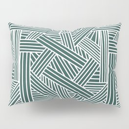 Sketchy Abstract (White & Dark Green Pattern) Pillow Sham