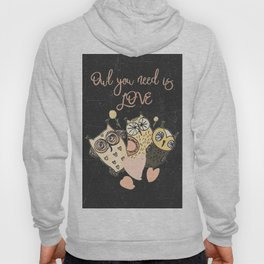 Owl you need is LOVE - Humor Animal Illustration & Typography Hoody