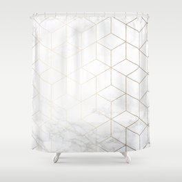 Gold Geometric White Mable Cubes Shower Curtain