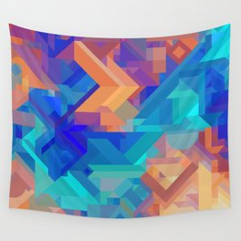 Multi Color Geometric Pattern // Dark Blues, Oranges, Aqua, Teal Wall Tapestry