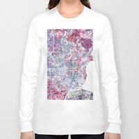 detroit Long Sleeve T-shirts featuring Detroit map by MapMapMaps.Watercolors