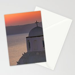 The sunset from Agios Minas in Fira which is the capital of Santorini island, Greece Stationery Cards