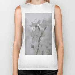 White Blossoms  Biker Tank