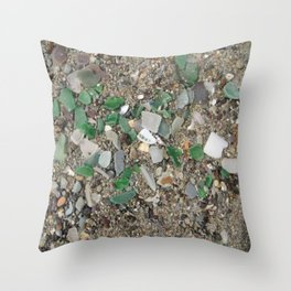 Rolling Rock sea glass Throw Pillow