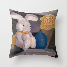 Bunny Loves a Rose Throw Pillow