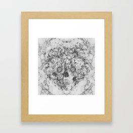Bookmatched Marble Skull Framed Art Print
