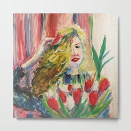 Portrait with tulips Metal Print