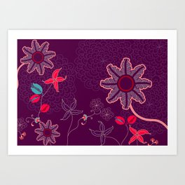 jungle delights deep velvet art print Art Print