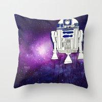 r2d2 Throw Pillows featuring r2d2 by Lovemaltine