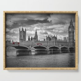 LONDON Houses of Parliament & Red Buses Serving Tray