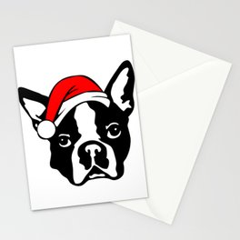 Boston Terrier Dog with Christmas Santa Hat Stationery Cards