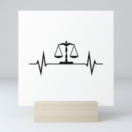 Scales Of Justice Heartbeat Lawyer Judge Mini Art Print
