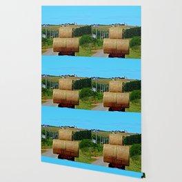 Hay Rolls on the Road in PEI Wallpaper
