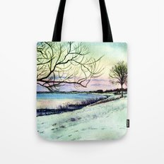 Winter evening in Racine Tote Bag