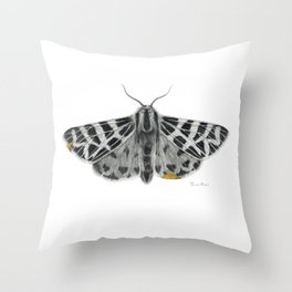 Kintsugi - A Graphite Drawing of a Moth by Brooke Figer Throw Pillow