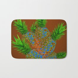 ABSTRACT COFFEE BROWN TROPICAL PINEAPPLES DESIGN Bath Mat