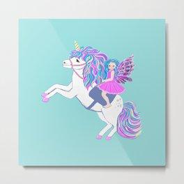 Unicorn and fairy magic Metal Print