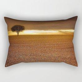 Ancient Oak Amid Ploughed Crop Field Italian sunset Rectangular Pillow
