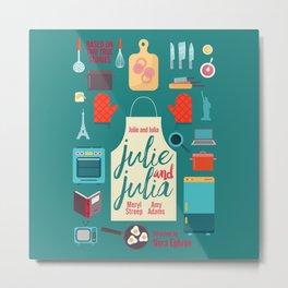 Julie and Julia, minimal movie poster, Meryl Streep, Amy Adams, Nora Ephron film, Julia Child, cook Metal Print
