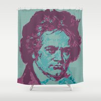 beethoven Shower Curtains featuring Roll Over Beethoven by Priscylla Cabral