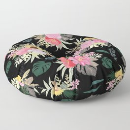 Watercolor Poppy & Sunflowers Floral Black Design Floor Pillow